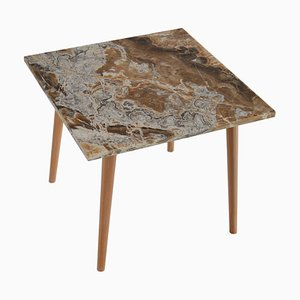 Square Onyx, Wood & Gold Leaf Artwork Side Table by Cupioli
