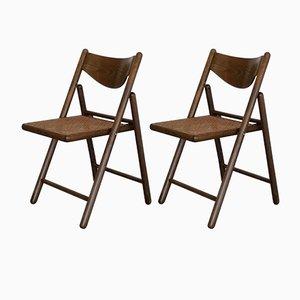 Sedie pieghevoli in legno e vimini, anni '70, set di 2