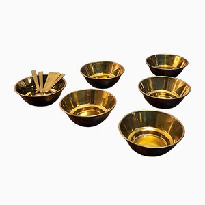 Vintage Italian Brass Salad Bowls, Set of 7