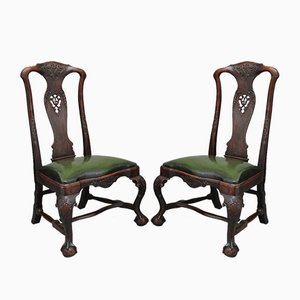 18th Century Portuguese Walnut Dining Chairs, Set of 2