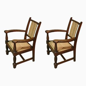 Wooden and Straw Lounge Chairs, 1940s, Set of 2
