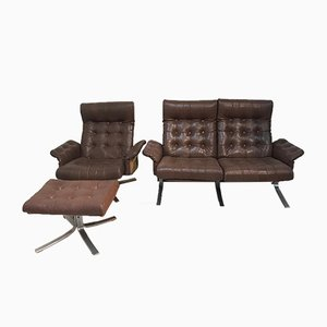 Mid-Century Armchair, Sofa, and Ottoman Set by Ebbe Gehl & Søren Nissen for Jeki Møbler, Set of 3