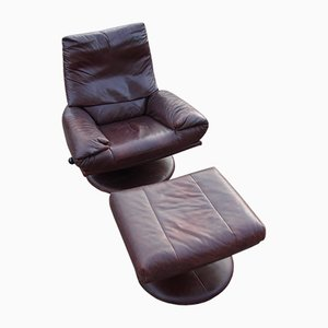 Leather Armchair and Footstool Set by Rolf Benz, 1970s