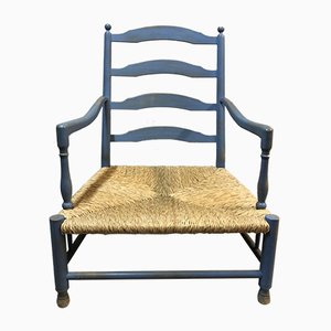 Rustic French Lavender Blue Lounge Chair, 1950s