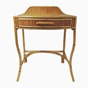 Vintage Schreibtisch aus Rohrgeflecht & Bambus, 1970er