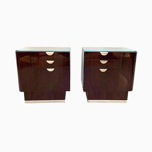 Art Deco French Rosewood and Maple Nightstands, 1930s, Set of 2