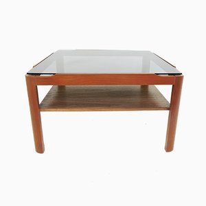 Vintage Teak and Smoked Glass Square Coffee Table, 1970s