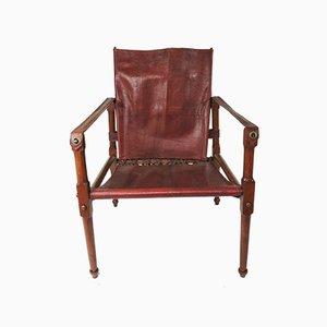 Silla Safari vintage de cuero marrón y granate, años 30