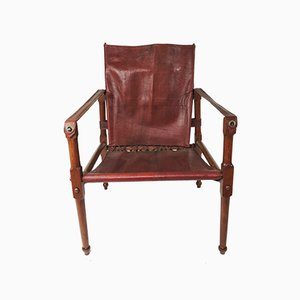 Vintage Maroon Leather and Wood Safari Chair, 1930s