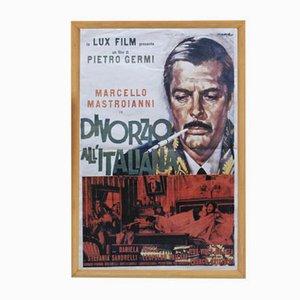 Póster vintage de la película Divorzio all'Italiana de Film TV Magazine, años 90