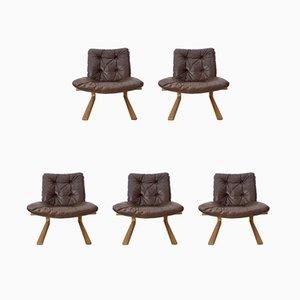Juego de sofás de cinco plazas modelo Kengu vintage de Elsa & Nordahl Solheim para Rybo Rykken & Co
