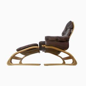 Juego de sillón modelo Kengu y reposapiés vintage de Elsa & Nordahl Solheim para Rybo Rykken & Co