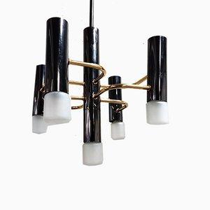 Lámpara de araña vintage de latón de Gaetano Sciolari para Boulanger, años 70