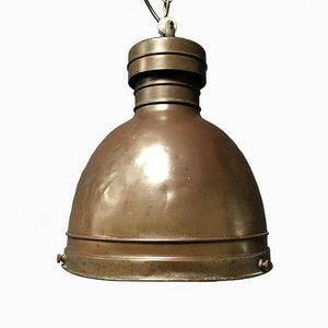 Vintage Industrial Dutch Copper Pendant Lamp, 1930s
