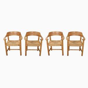 Dänische Esszimmerstühle aus Kiefernholz mit Papierkordelgeflechgt von Rainer Daumiller für Hirtshals Sawmill, 1970er, 4er Set