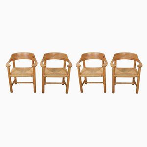 Danish Pinewood and Paper Cord Dining Chairs by Rainer Daumiller for Hirtshals Sawmill, 1970s, Set of 4