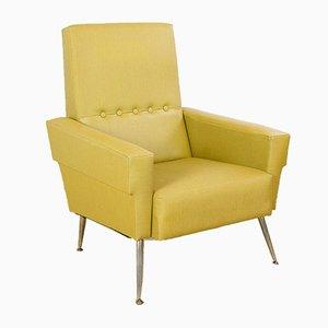 Butaca de cuero escay amarillo, años 60