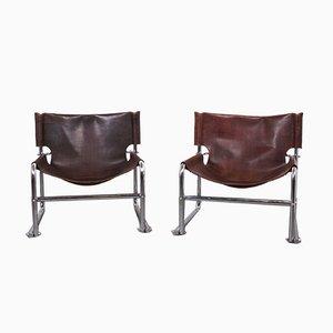 Vintage Leather Model T1 Sling Lounge Chairs by Rodney Kinsman for Omk, Set of 2