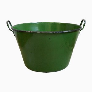 Large French Enameled Water Bucket, 1930s