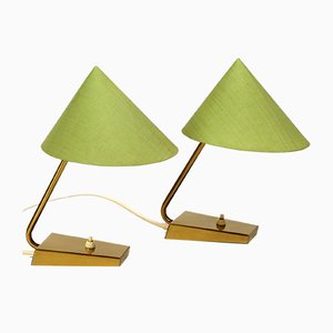 Lampes de Bureau en Laiton de J. T. Kalmar, années 50, Set de 2