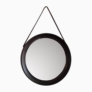 Small Round Mid-Century Wengé Wooden Mirror