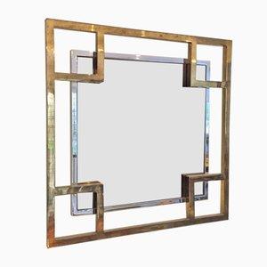 Espejo de metal cromado y latón de Maison Jansen, años 80