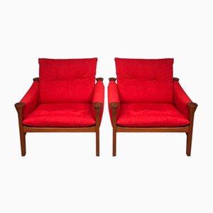 Poltronas rojas de Arne Vodder, años 70. Juego de 2