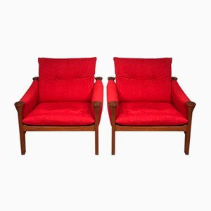 Red Easy Chairs by Arne Vodder, 1970s, Set of 2