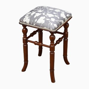 Antique Victorian Mahogany Stool by H. Brooks & Co