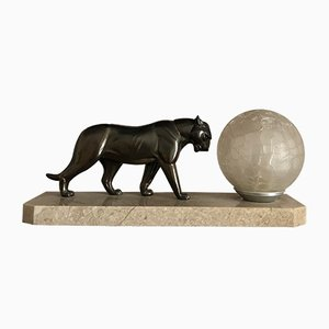 Art Deco Panther Table Lamp, 1930s