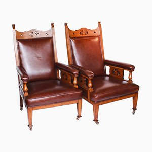 Antique Library Chairs, Set of 2