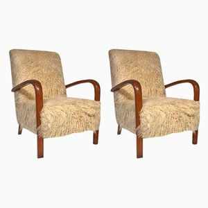 Faux Fur Easy Chairs, 1950s, Set of 2