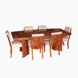 Art Deco Dining Table & Chairs Set, 1930s