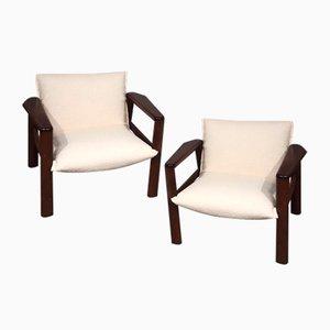Weiße italienische Mid-Century Sessel, 2er Set