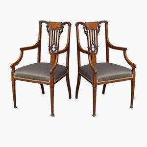 Antike viktorianische Esszimmerstühle aus Mahagoni, 2er Set