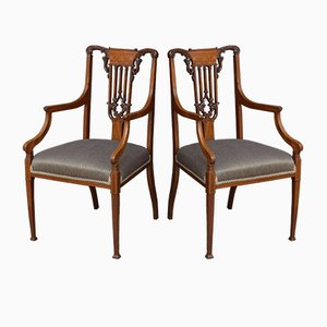 Antique Victorian Mahogany Dining Chairs, Set of 2