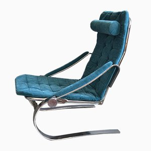 Scandinavian Adjustable Chromed Steel Lounge Chair, 1970s