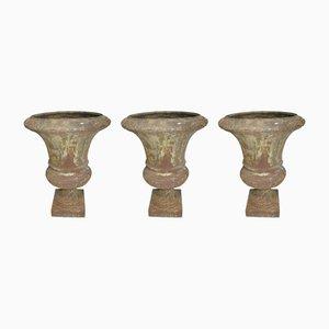 Antike Gartenvasen aus Gusseisen, 3er Set
