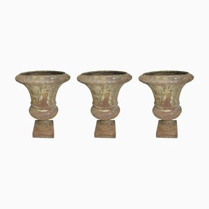 Antique Cast Iron Garden Vases, Set of 3