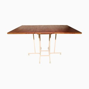 Mid-Century White Metal and Teak Dining Table by Robert Heal for Staples, 1960s