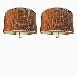 Mid-Century Italian Fabric and Brass Ceiling Lamps, Set of 2