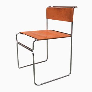 Italian Steel and Leather Model Libellula Dining Chair by Giovanni Carini for Planula, 1970s