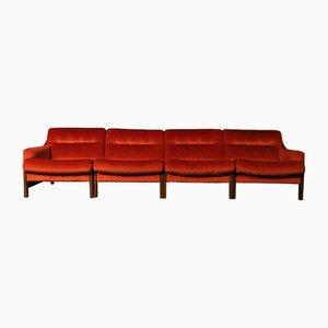 Bright Orange Modular Sofa Set, 1970s, Set of 4
