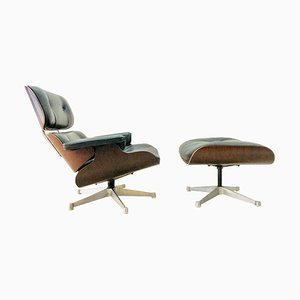 Leather Armchair & Footstool by Charles & Ray Eames for Vitra, 1980s