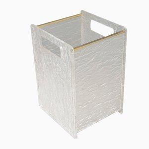 Lucite & Brass Waste Paper Bin, 1970s