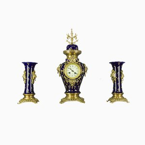 Royal Blue Clock Set from Boch Frères Keramis, 1920s