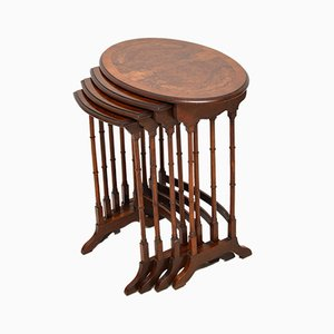 Tavolini ad incastro antichi in radica di noce