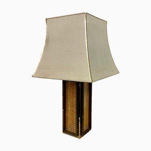 Lámpara de mesa de ratán, latón y cromo, años 70