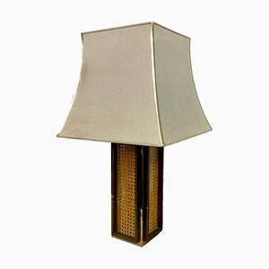 Rattan, Brass, and Chrome Table Lamp, 1970s