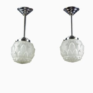 Art Deco White Frosted Glass and Chrome Pendant Lamps, 1930s, Set of 2